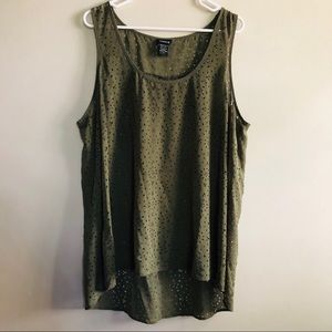 Torrid Olive Green Distressed Tank Top